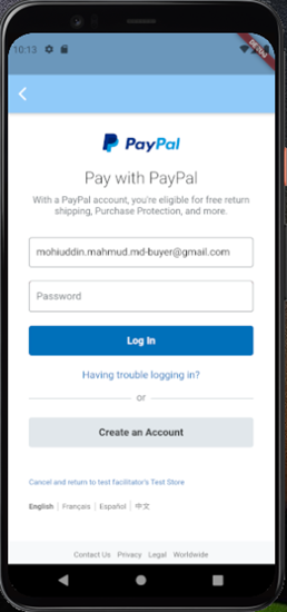 Picture of Flutter Paypal Payment Integration
